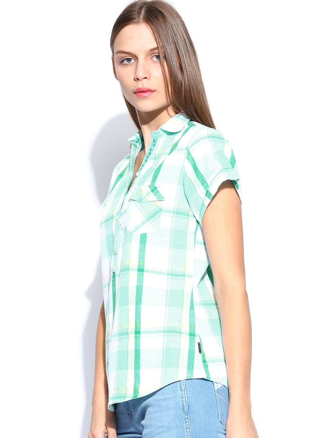Myntra wrangler women green white checked shirt 726989 for Womens green checked shirt