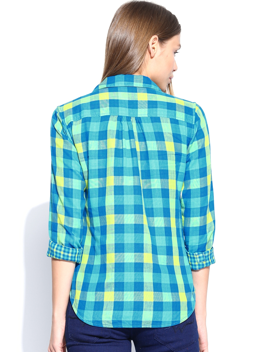 Myntra wrangler women blue green checked reversible for Womens green checked shirt