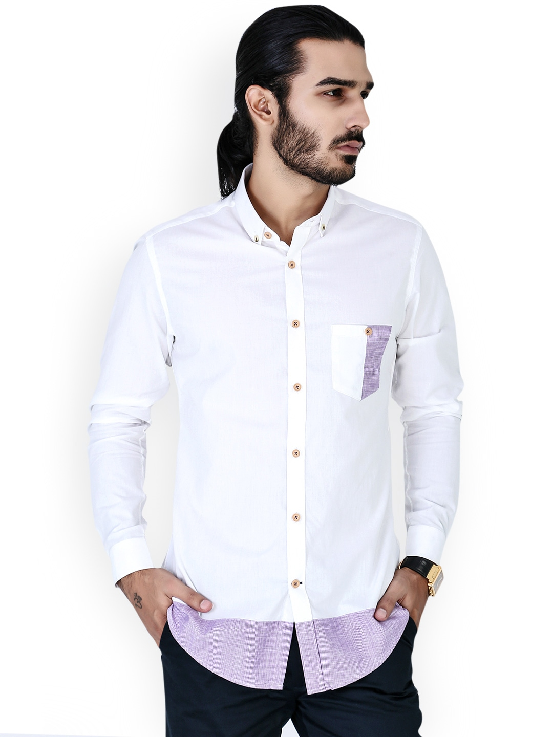 Home clothing men clothing shirts mr button shirts for Slim fit white linen shirt