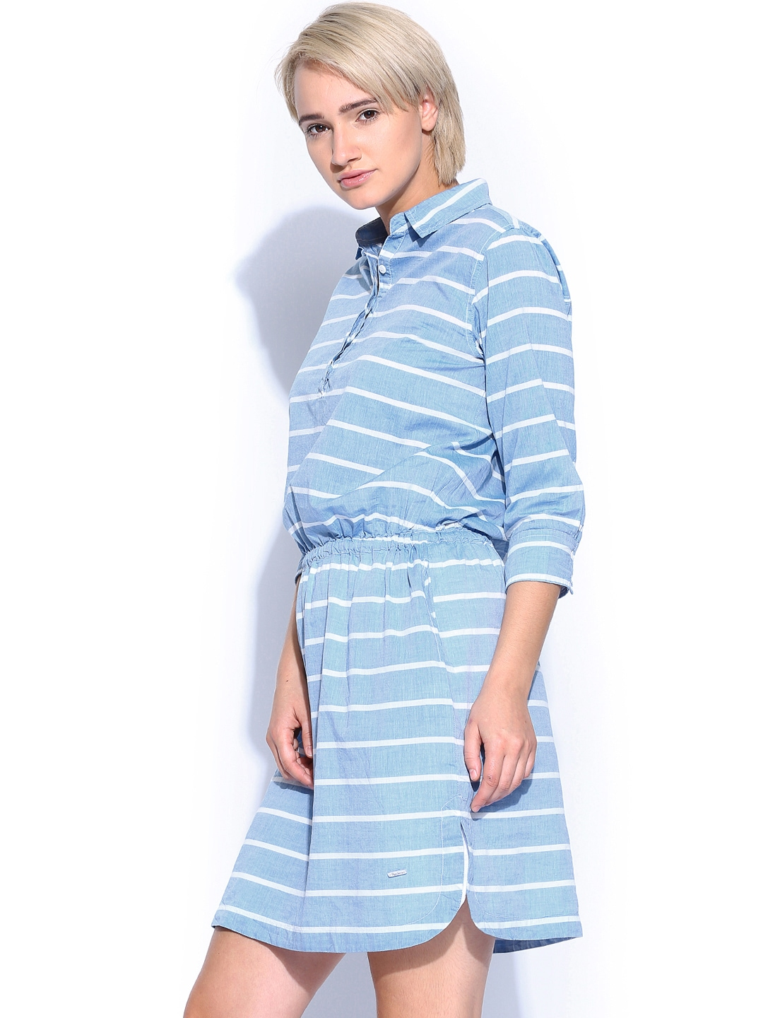 Myntra pepe jeans light blue white striped shirt dress for Buy white dress shirt