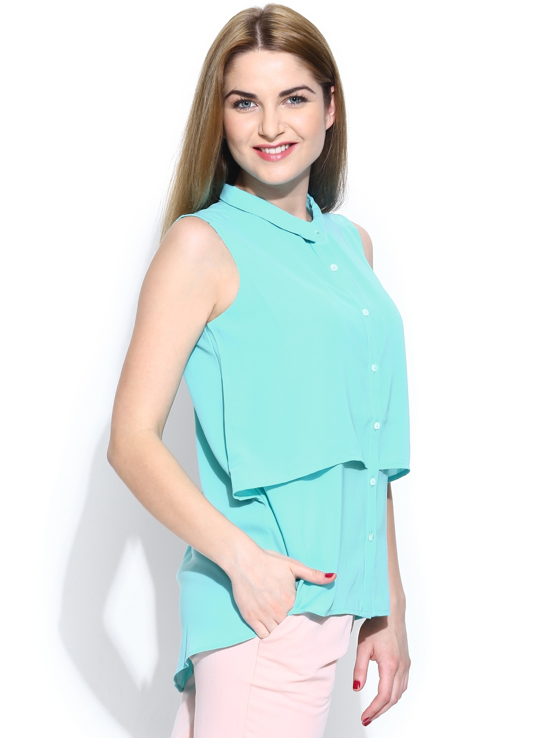 Myntra united colors of benetton women blue casual shirt for Shop online benetton