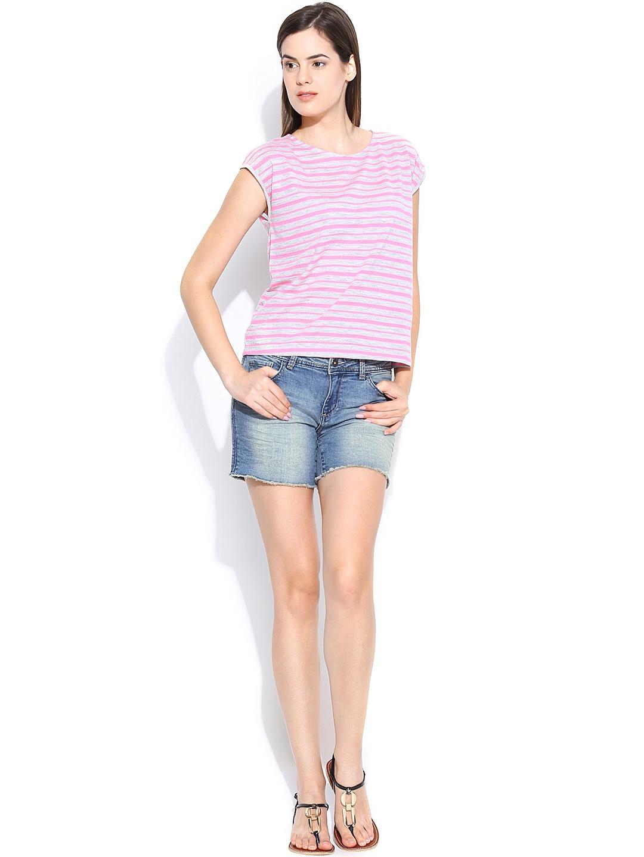 Myntra united colors of benetton women blue denim shorts for Shop online benetton