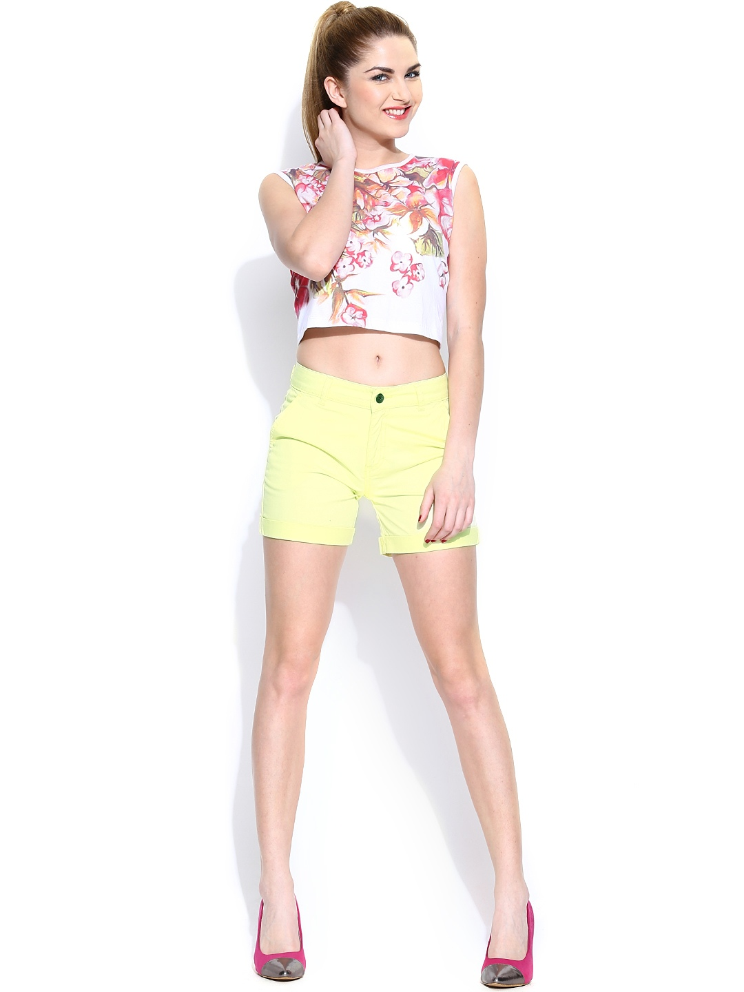 Myntra United Colors of Benetton Women Yellow Shorts ...