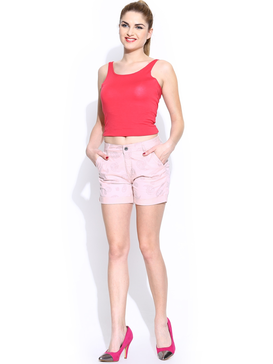Myntra united colors of benetton women pink printed shorts for Shop online benetton
