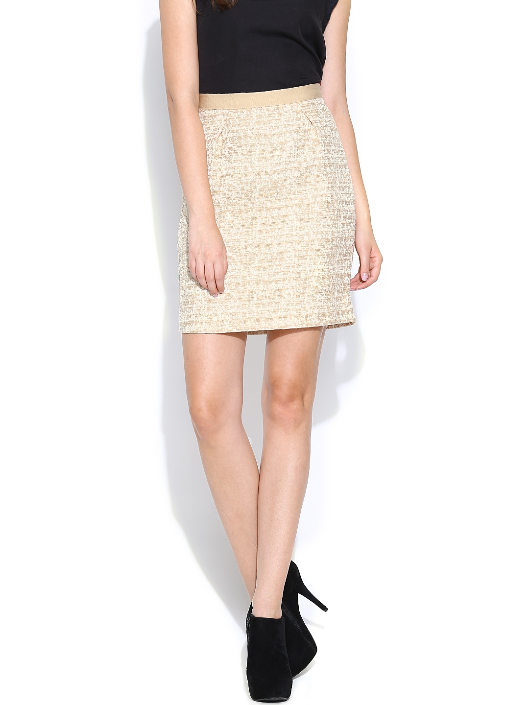 myntra united colors of benetton beige pencil skirt 730591
