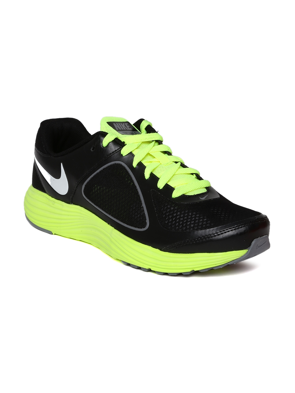 myntra nike black neon green emerge 3 running shoes