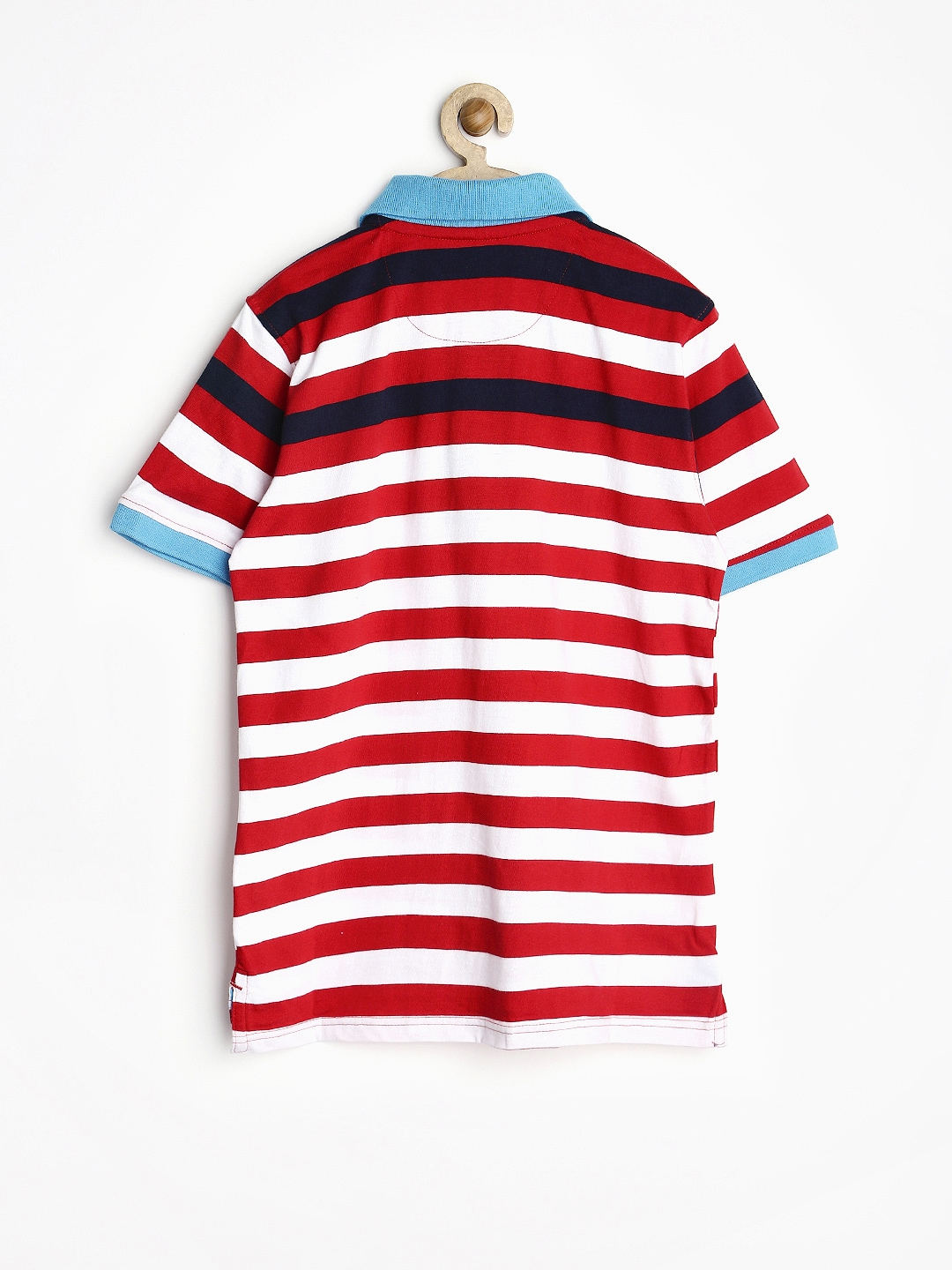 Myntra allen solly junior boys red white striped polo t for Red white striped polo shirt