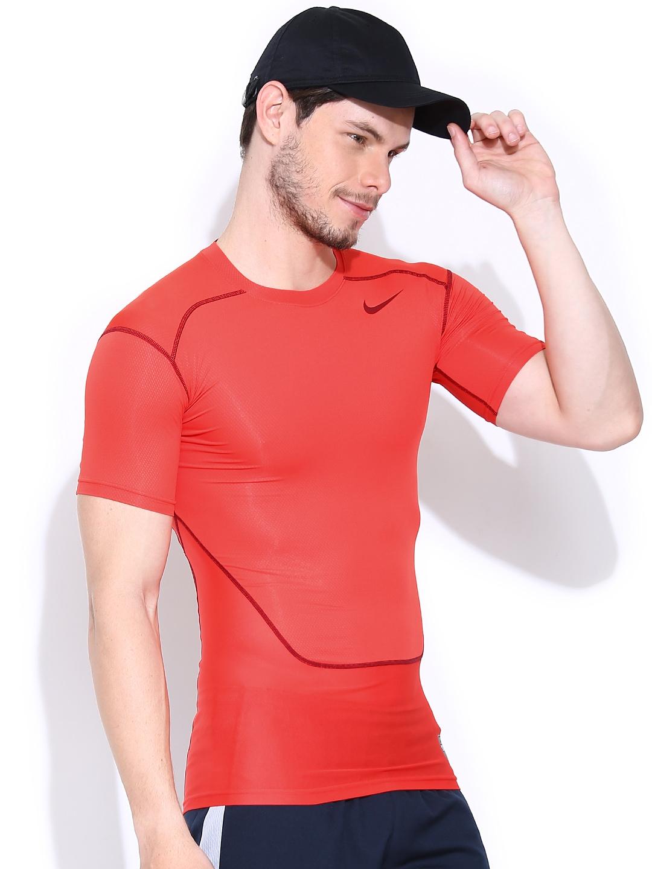Myntra Nike Men Coral Red Maroon Hypercool Comp Ss