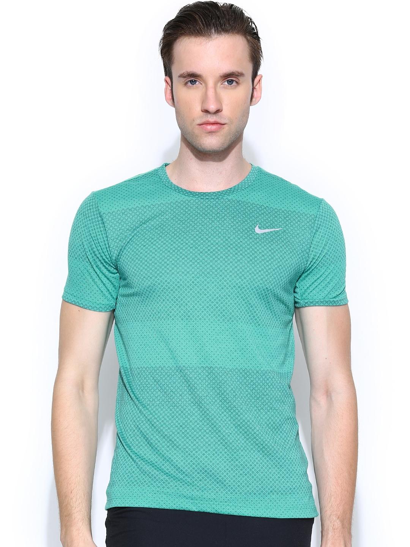 Myntra nike men green df cool tailwind printed running t for Nike t shirt price
