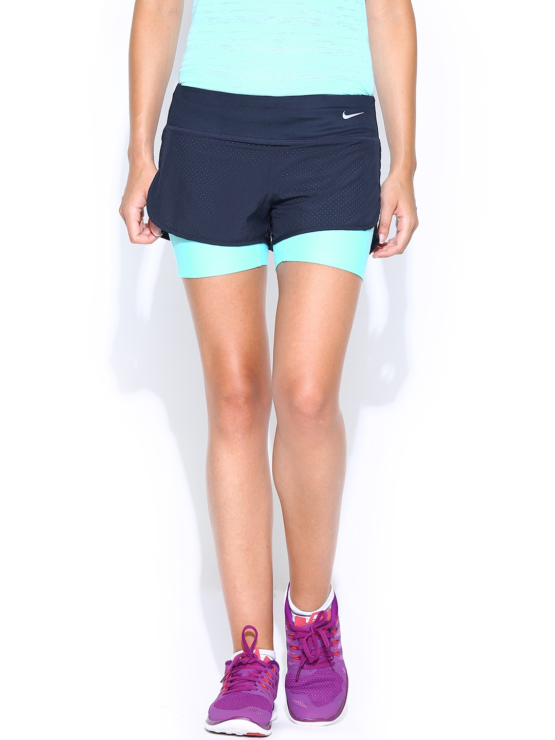 Nike womens running shorts with liner - Buy Nike Women Navy Perforated Rival 2in1 Running Shorts Shorts For Women Myntra
