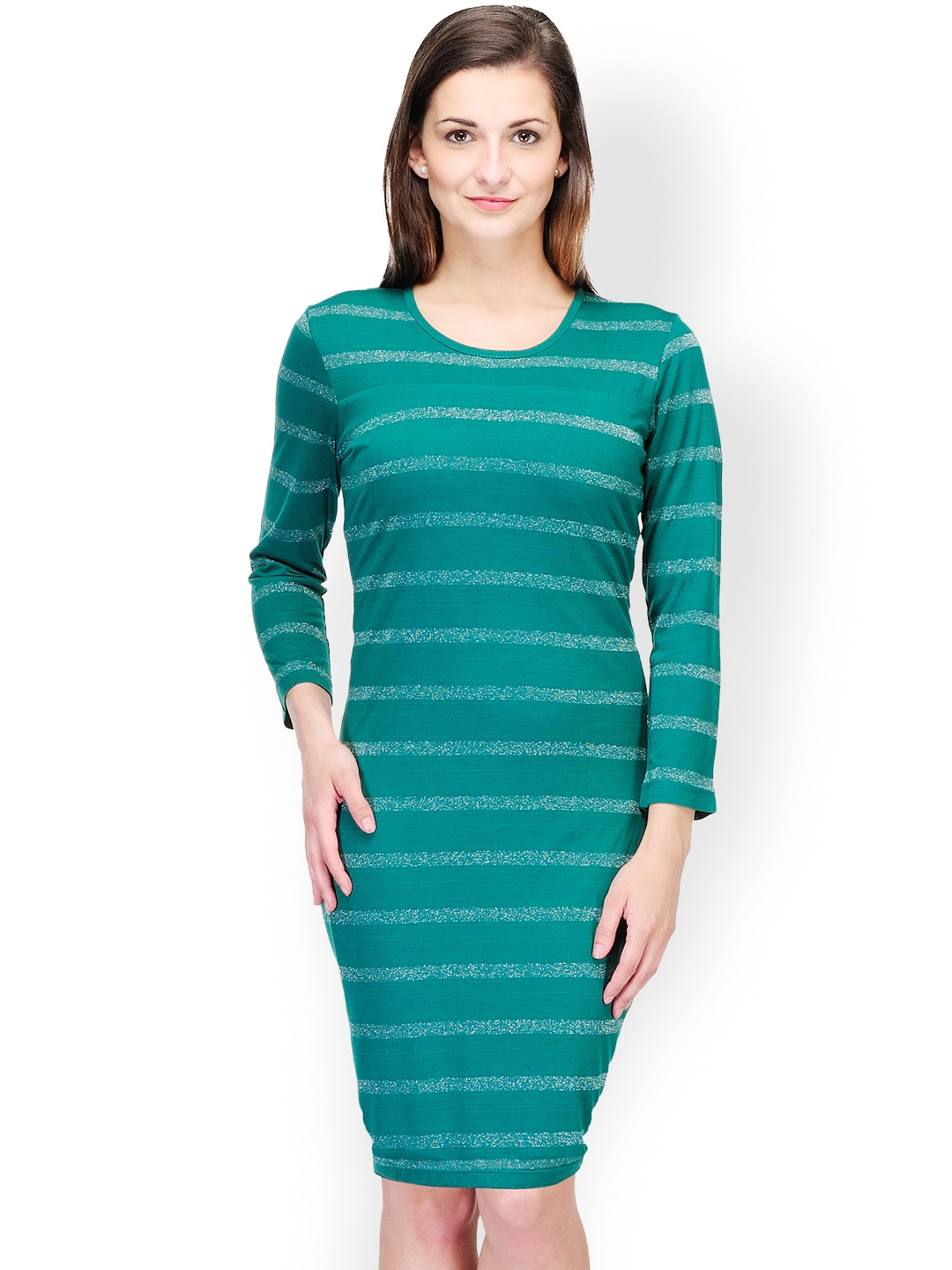 Myntra Color Cocktail Teal Green Striped Bodycon Dress ...