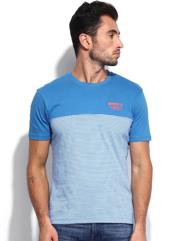 Myntra wrangler men blue white bruce striped t shirt for Blue white striped t shirt mens