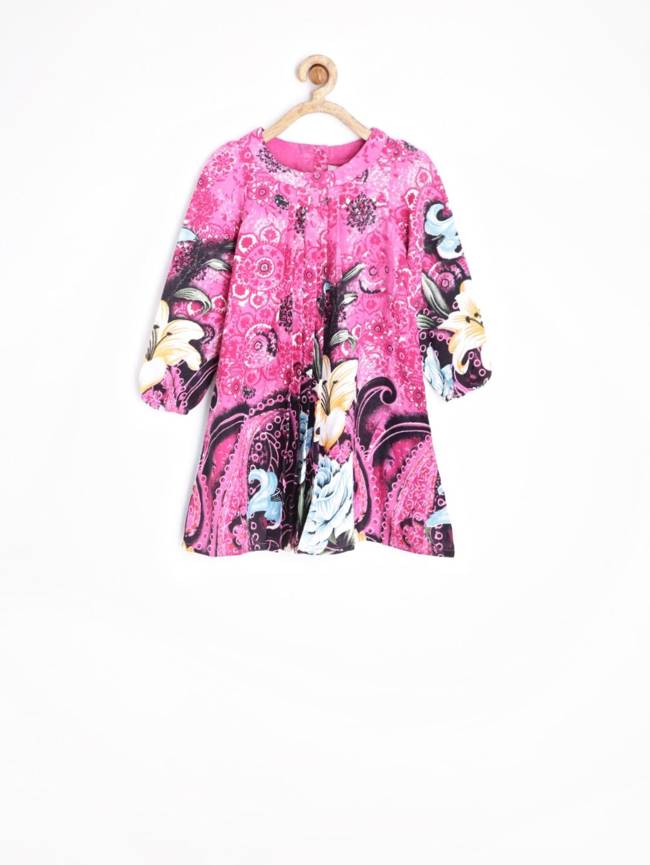 Myntra Yo Baby Girls Pink Printed A Line Dress