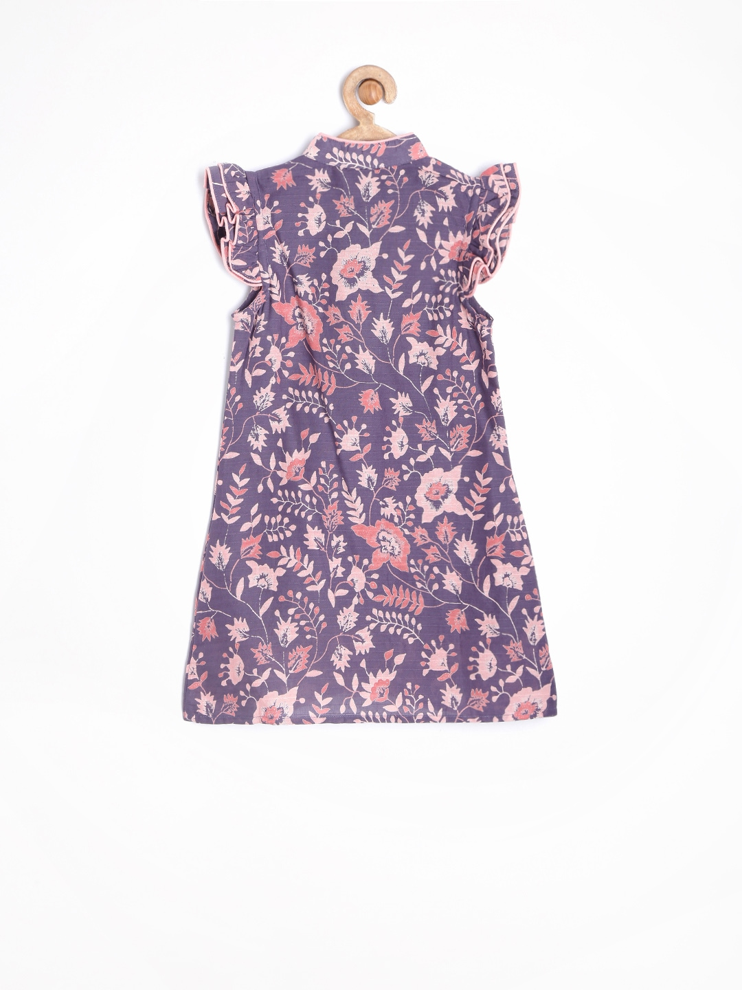 Myntra Yo Baby Girls Purple & Pink Printed Shirt Dress