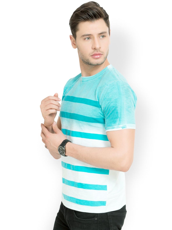 Myntra elaborado men blue white striped t shirt 736839 for Blue white striped t shirt