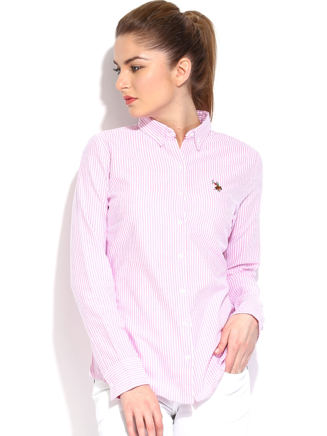 myntra u s polo assn women pink white striped shirt
