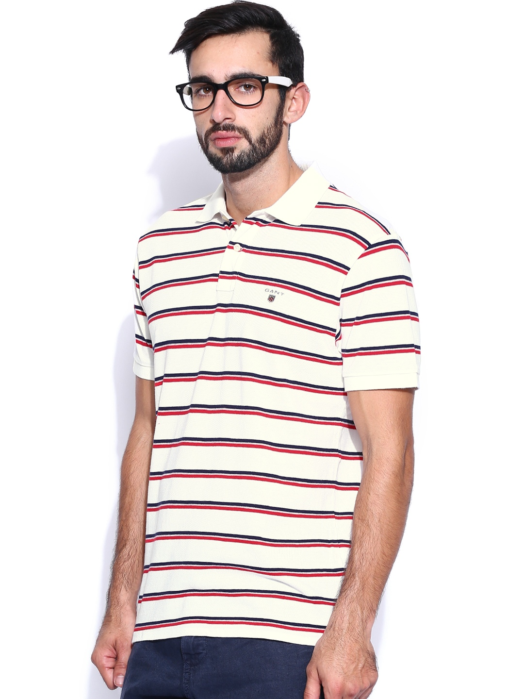Myntra gant off white red striped pique polo t shirt for Red white striped polo shirt