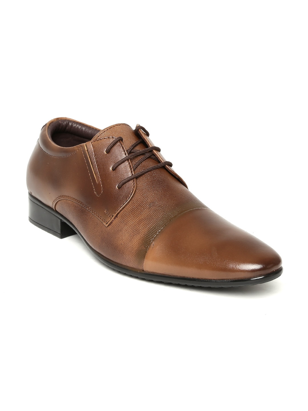 myntra egoss plus brown leather formal shoes 738767