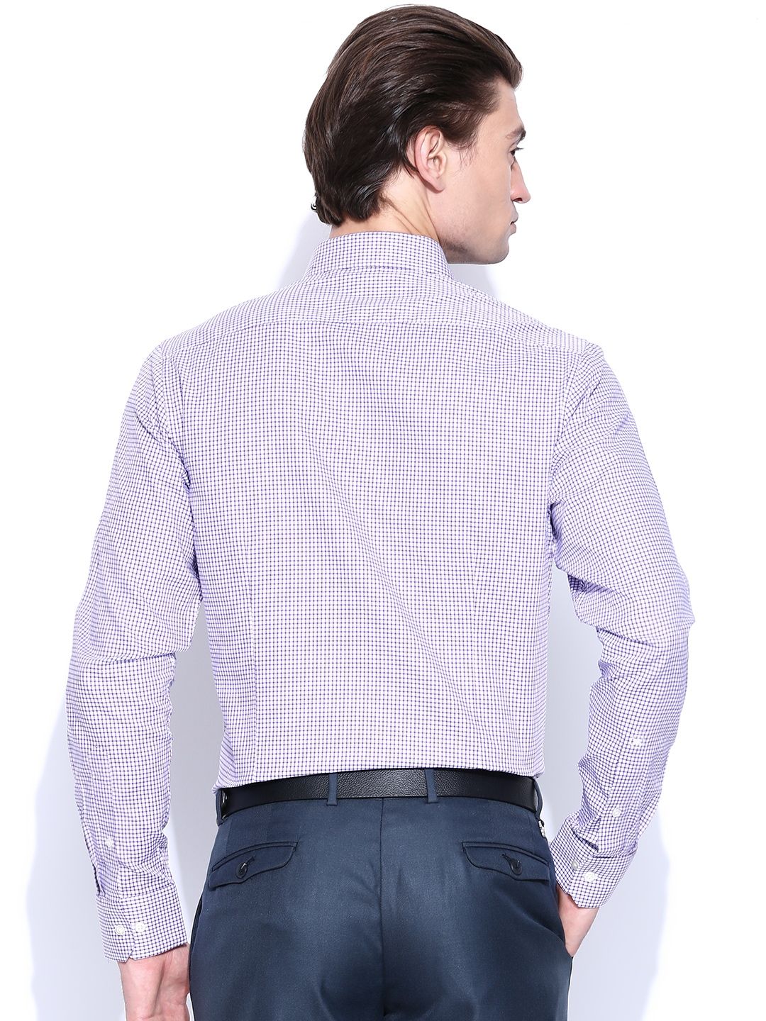 Myntra blackberrys men purple white checked slim fit for Purple and white checked shirt