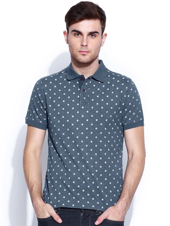 Myntra Indian Terrain Blue White Printed Polo T Shirt