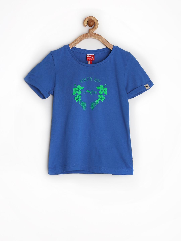 Myntra puma girls blue printed t shirt 740291 buy myntra for Shirts online shopping lowest price