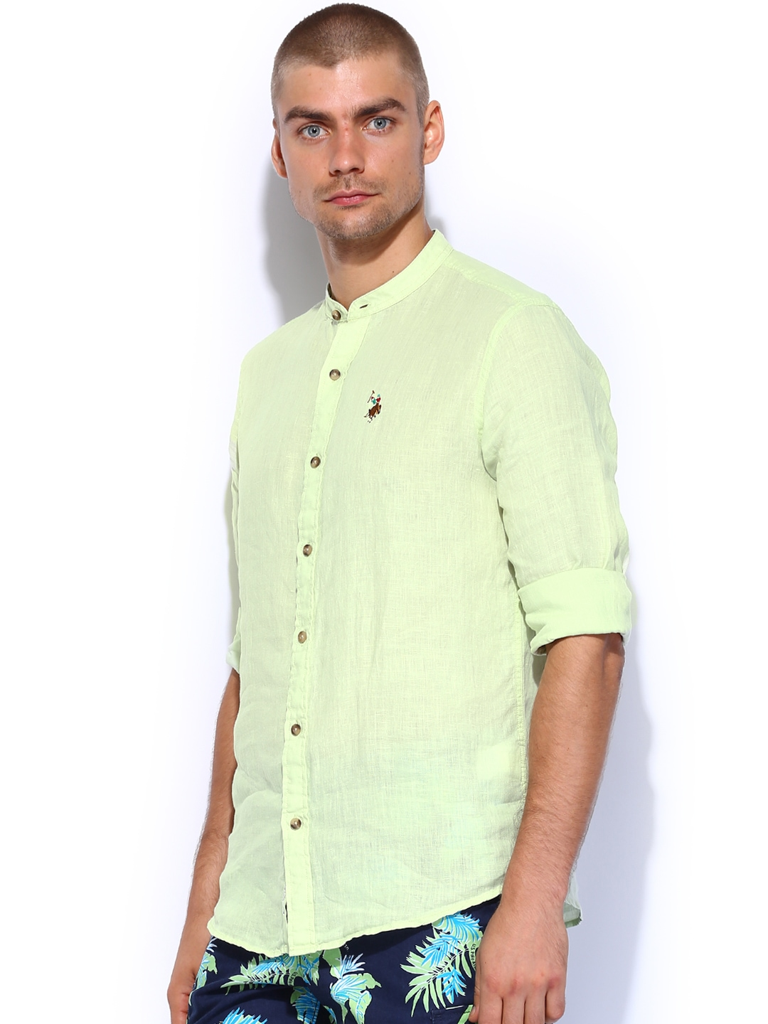 Myntra U S Polo Assn Green Linen Tailored Fit Casual