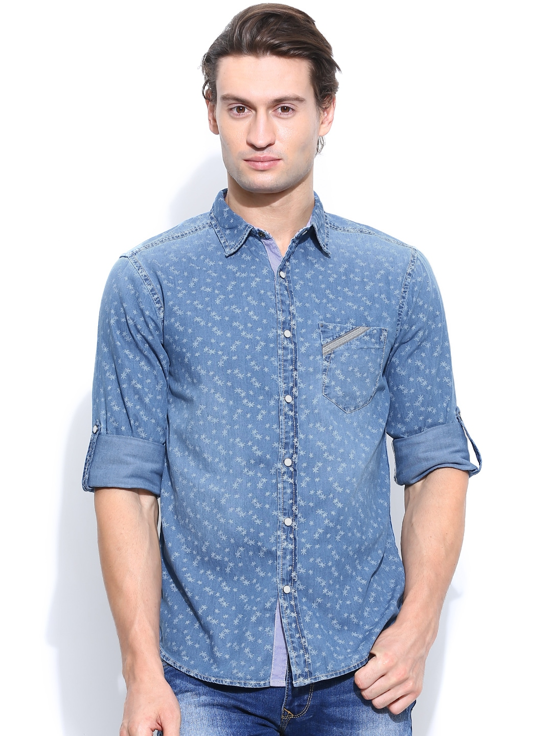 Myntra spykar men blue printed denim casual shirt 741540 for Where to buy casual dress shirts
