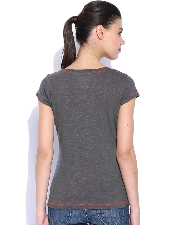 Myntra harvard charcoal grey printed team spirit t shirt for Team t shirt printing