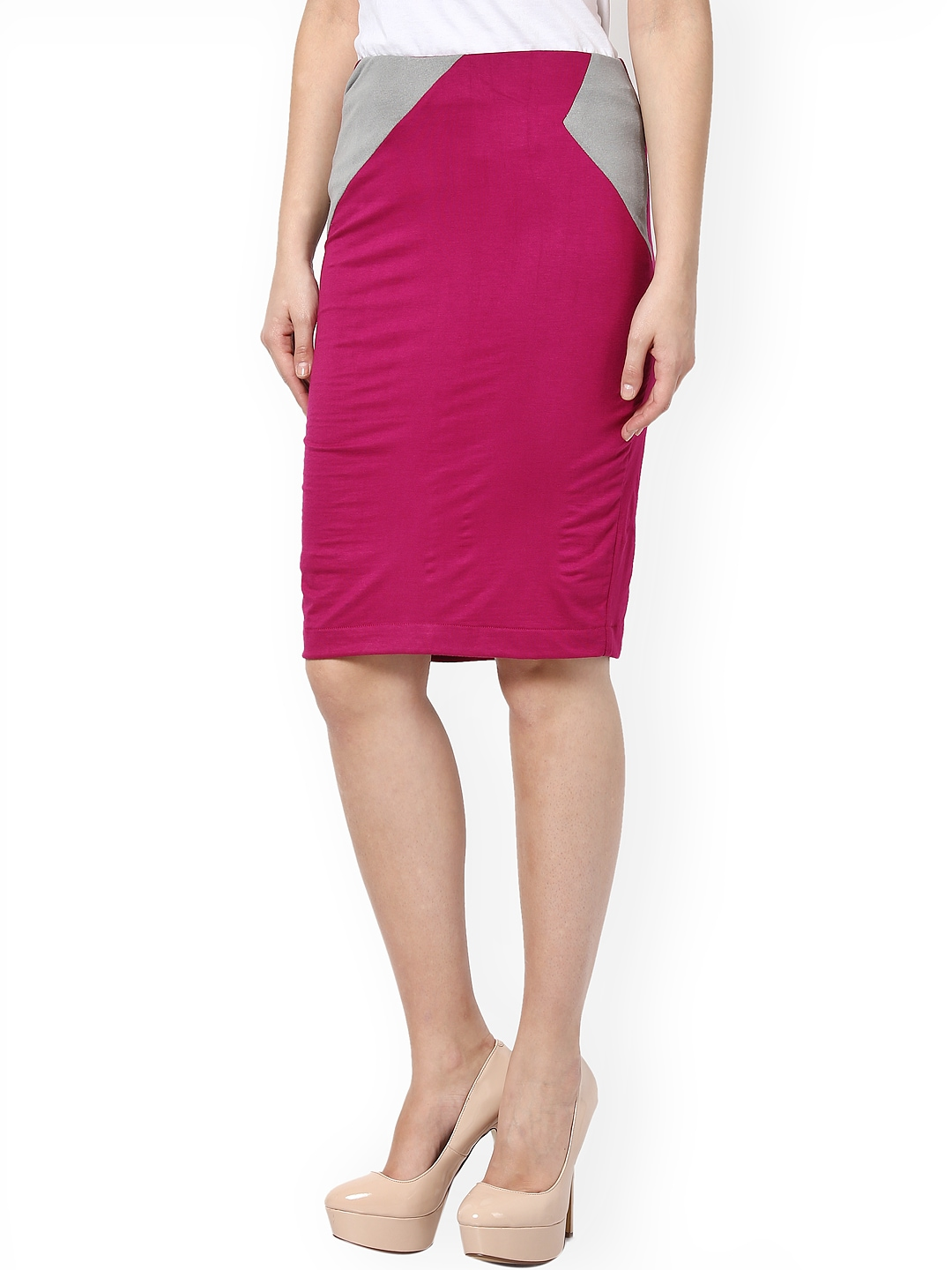 myntra kaaryah magenta pencil skirt 744155 buy myntra