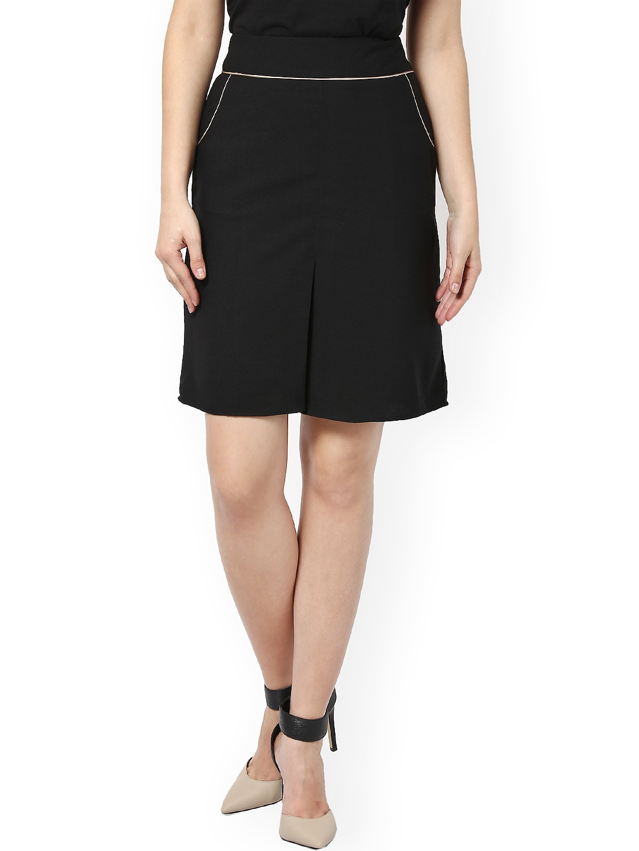 myntra kaaryah black a line skirt 744160 buy myntra