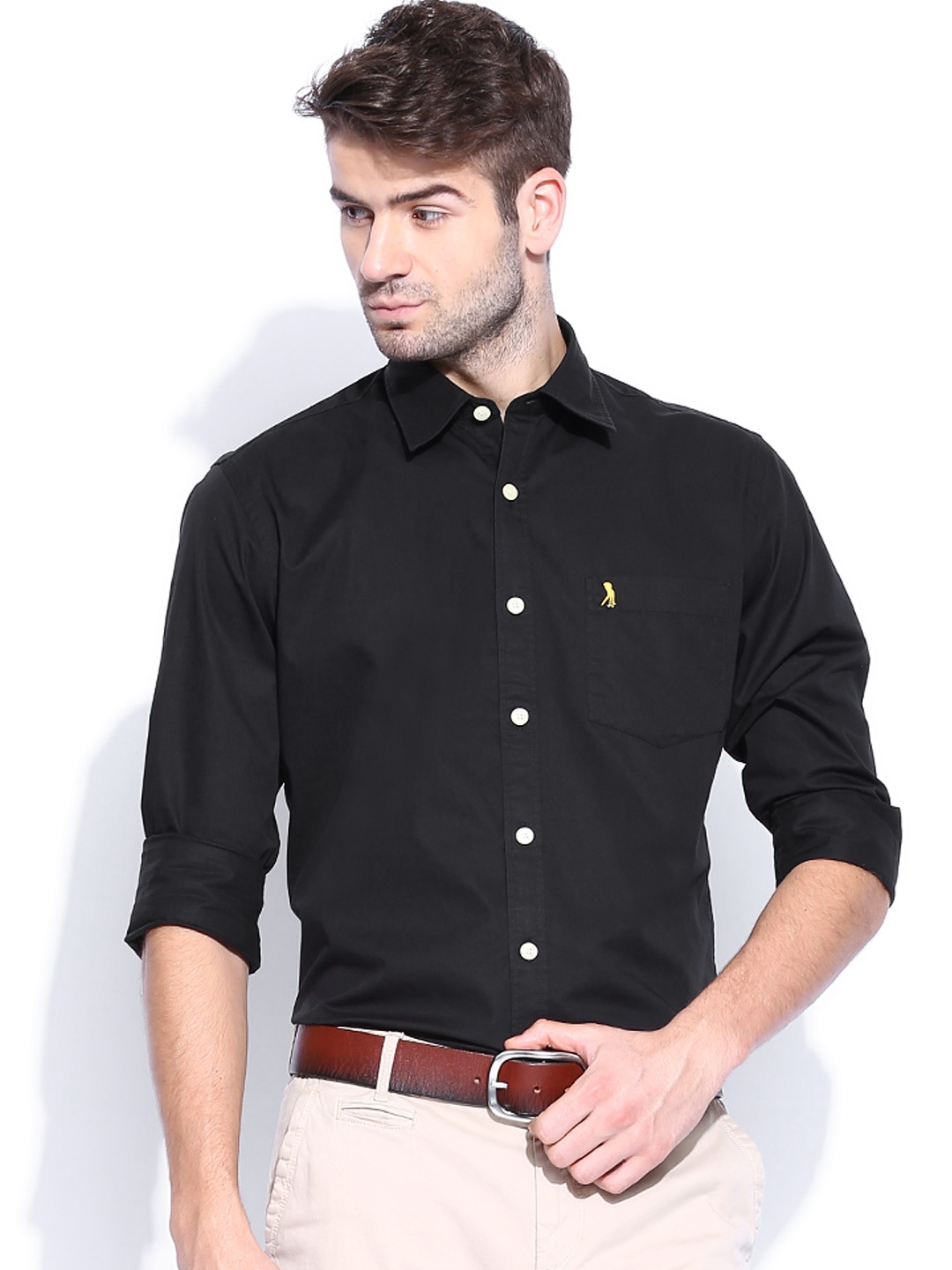 Myntra burnt umber men black slim fit smart casual shirt for Where to buy casual dress shirts