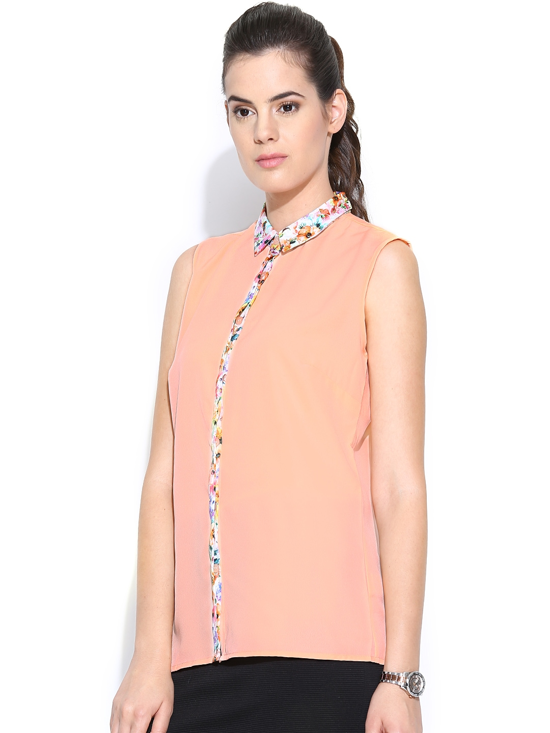 Myntra wills lifestyle women peach coloured shirt 745168 for Shirts online shopping lowest price