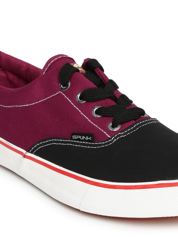 myntra maroon black canvas shoes 745456 buy