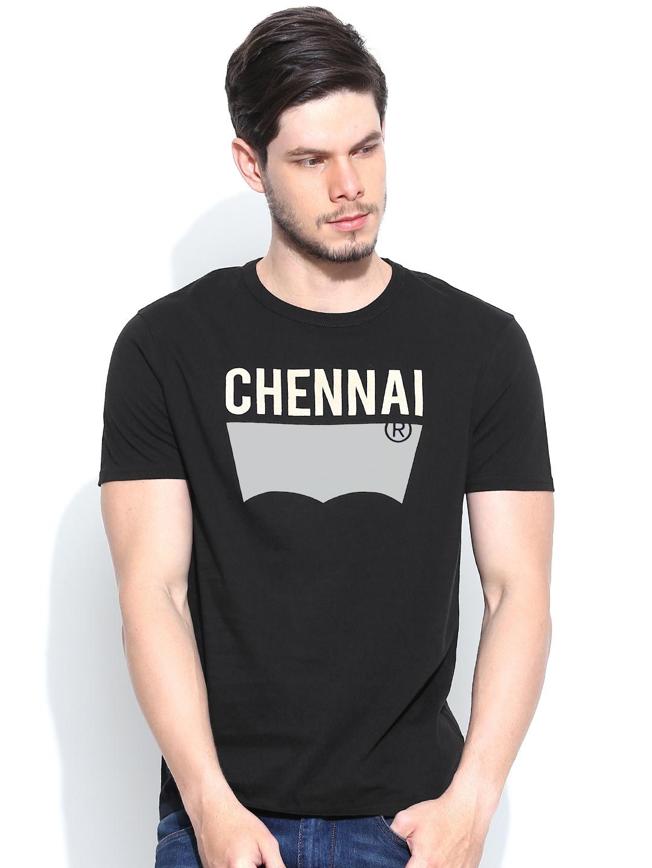 Myntra levis men black city printed t shirt 745749 buy for Mens black levi shirt
