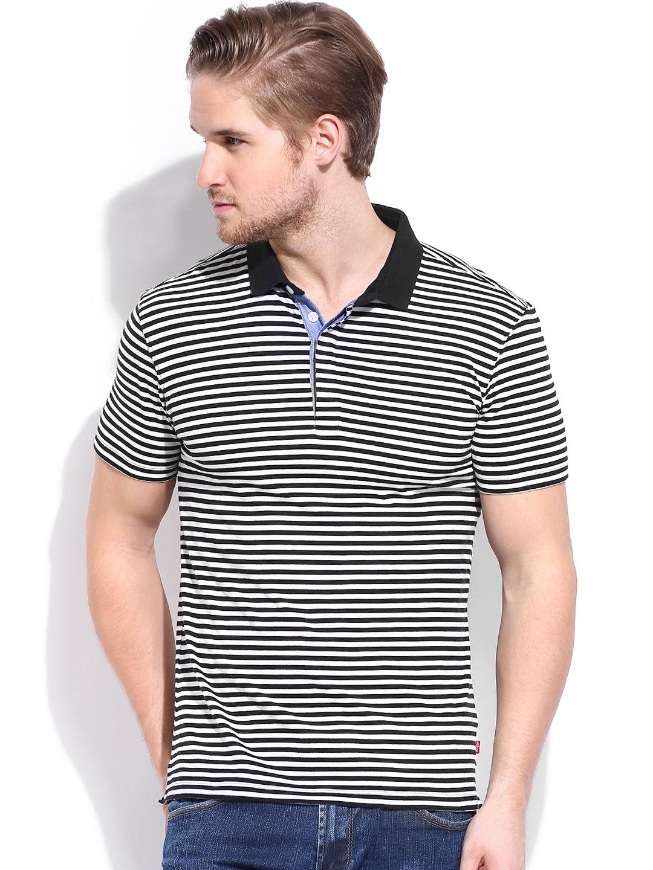 Myntra levis men off white black striped polo t shirt for Mens black levi shirt