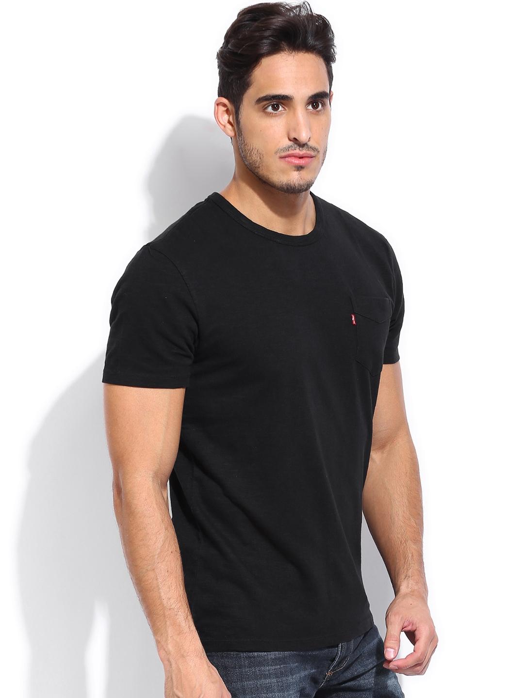 Myntra levis men black slub t shirt 745759 buy myntra for Mens black levi shirt