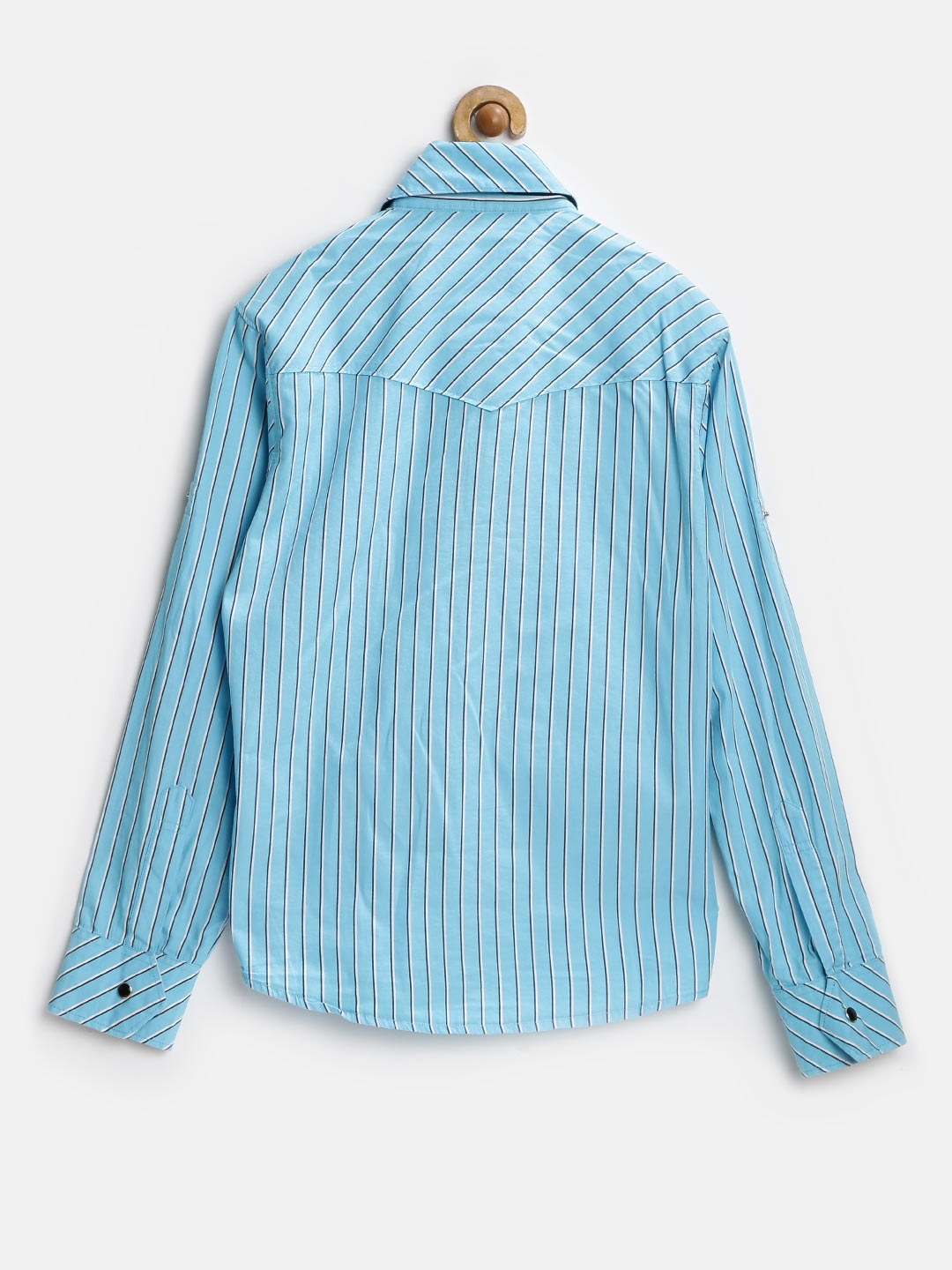 Myntra finger chips boys turquoise blue striped slim fit for Striped shirt with tie