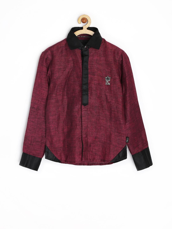 Myntra Finger Chips Boys Burgundy Slim Fit Shirt 747131: burgundy polo shirt boys