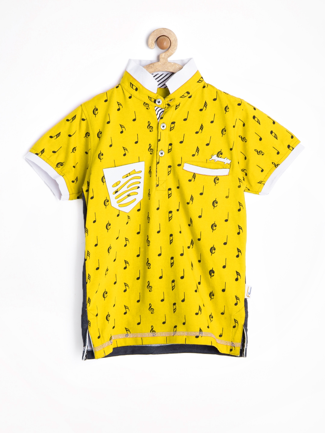 Myntra finger chips boys mustard yellow black printed t for Boys printed t shirts