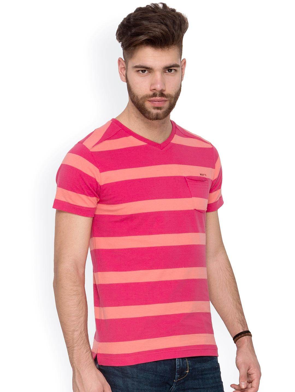 Myntra Mufti Men Pink Yellow Striped T Shirt 749700