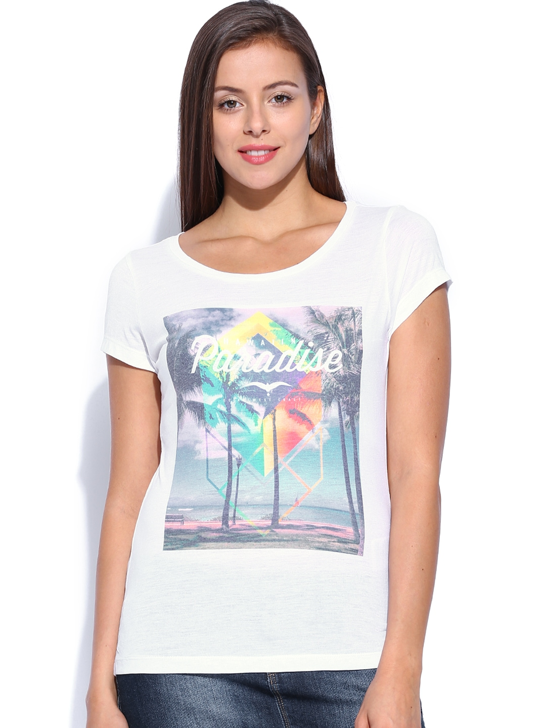 Myntra only women white printed t shirt 749991 buy for Online printed t shirts