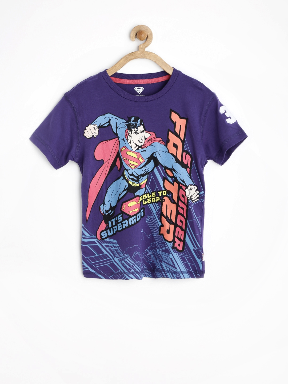 Myntra superman by kids ville boys purple printed t shirt for Boys printed t shirts
