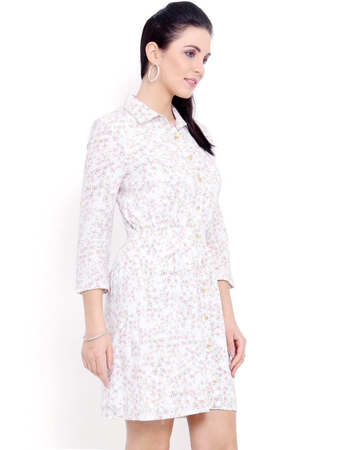 Myntra femenino for tfc white printed shirt dress 751151 for Buy white dress shirt