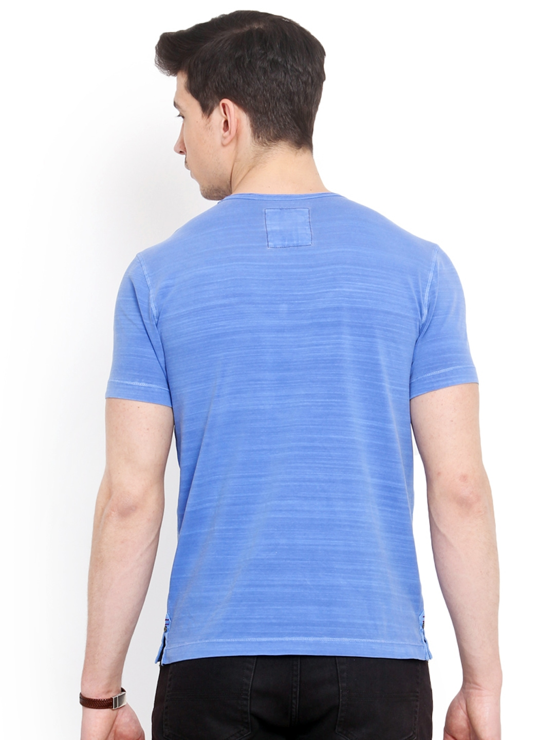 Myntra smokestack men blue striped custom fit t shirt for Custom fit t shirts