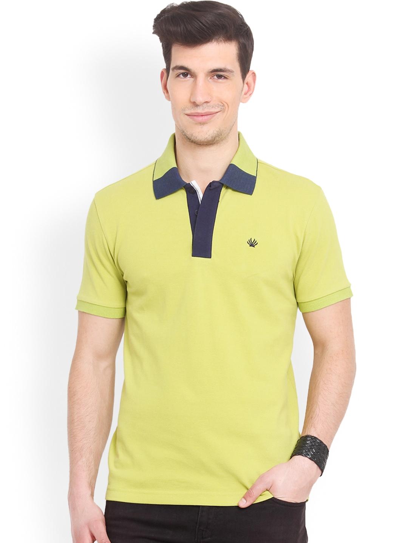 Myntra Smokestack Men Lime Green Custom Fit Polo T Shirt