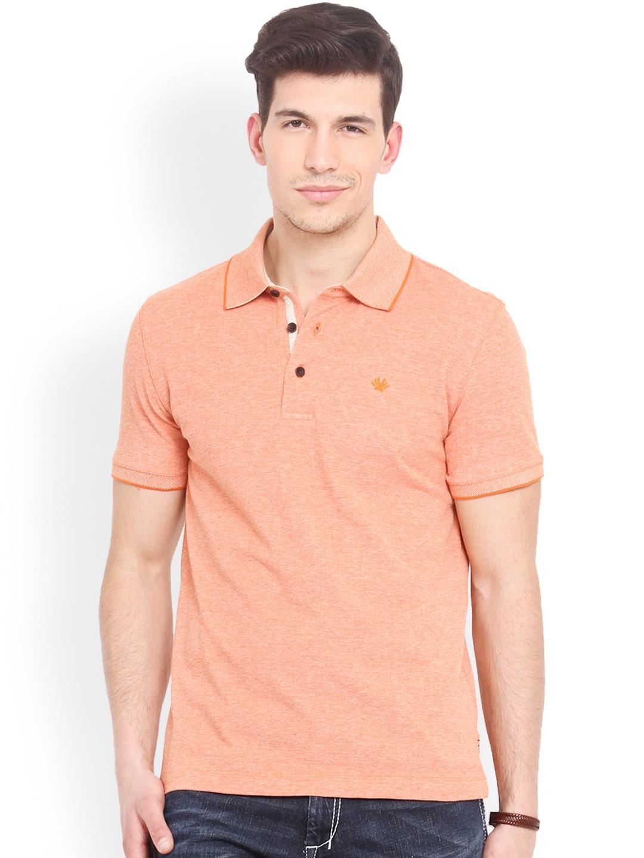 Myntra smokestack men light orange custom fit polo t shirt Customized polo t shirts