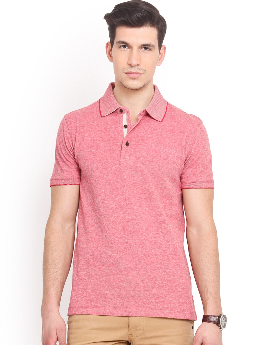 Myntra smokestack men pink custom fit polo t shirt 752904 for Custom fit t shirts