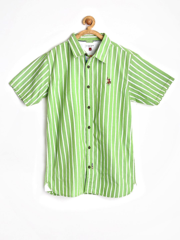 Myntra u s polo assn kids boys green white striped for Boys striped polo shirts