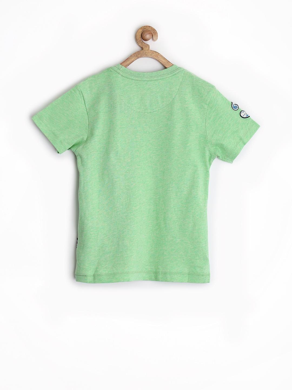 Myntra u s polo assn kids boys green printed t shirt for Boys printed t shirts
