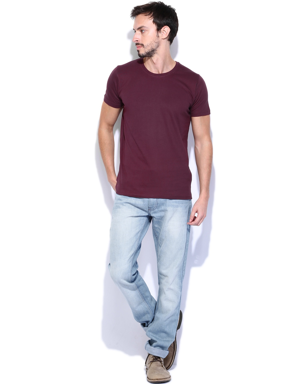 Myntra highlander men burgundy t shirt 754558 buy myntra for Shirts online shopping lowest price